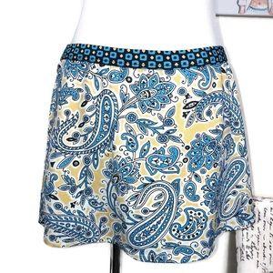Athleta Yellow Blue Paisley Swim Skirt Size M